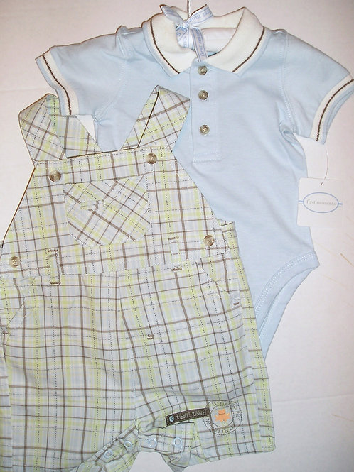First Moments 2 pc set blue/stripes 0-3 mos