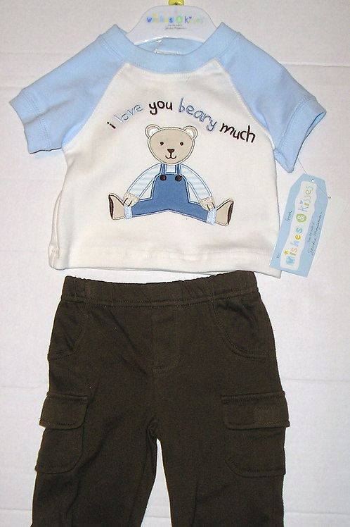 Wishes and Kisses 2 pc set blue/brown/bear Newborn