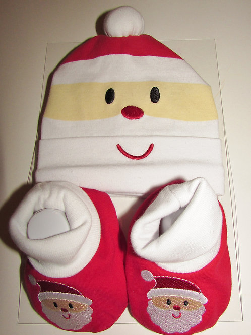Baby Essentials hat/booties red/white Santa 0-6 mo