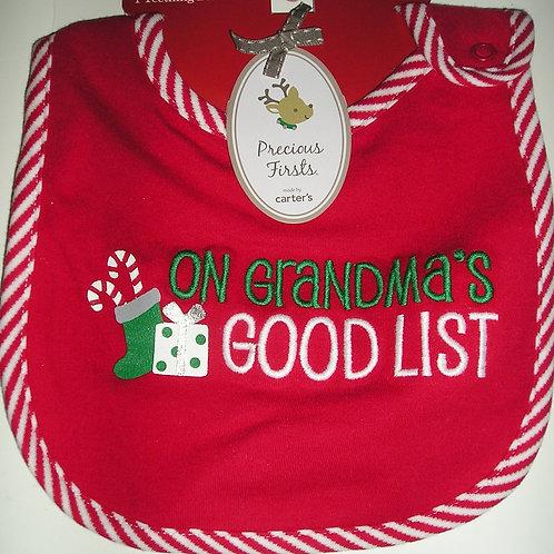 Precious First velour Xmas bib Red/Grandma