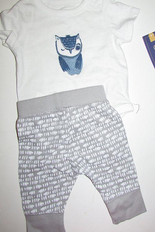 Cherokee 2 pc set white/blue gray owl motif size N