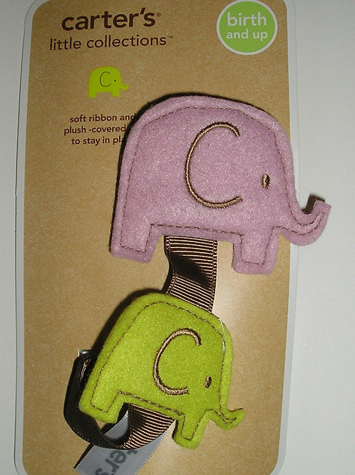 Carters pacifier clip felt elephants