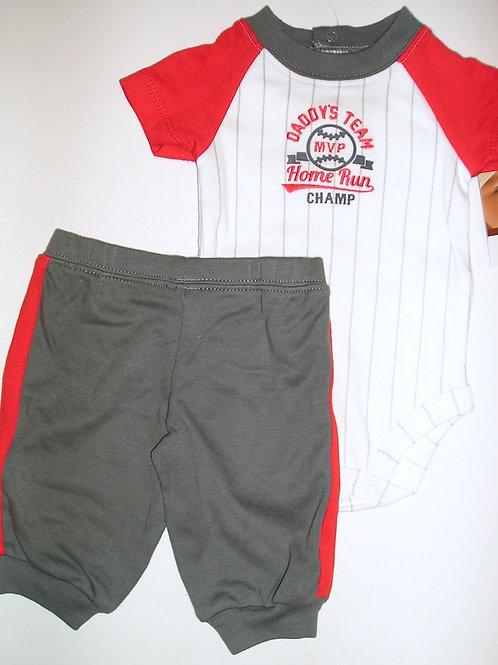 Carters 2 pc set white/gray/sport Newborn