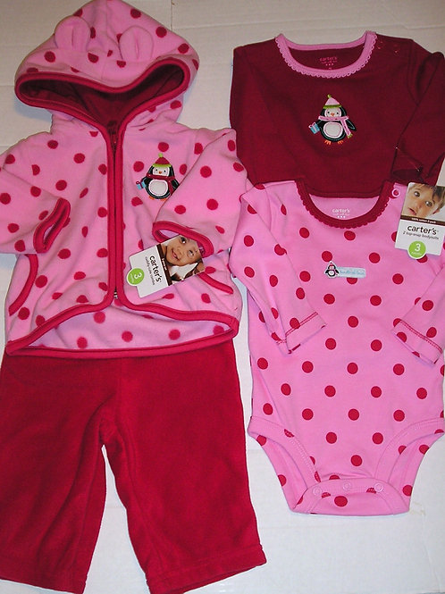 Carters 4 pc flc set red/pink size 3 mos