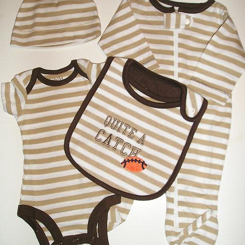 Child of Mine 4 pc set brown.stripe size 0-3 month