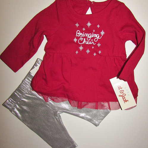 Cat & Jack 2 pc set red/silver size N
