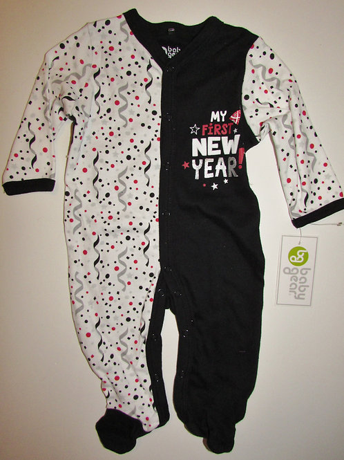 Baby Gear sleeper black/white New Year motif size 0-3 mo