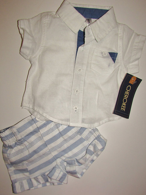 Cheorkee 2 pc set white/blue button up size N