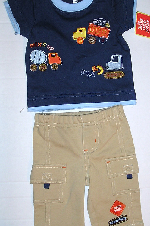 Just One You 2 pc set navy/tan/trucks Newborn