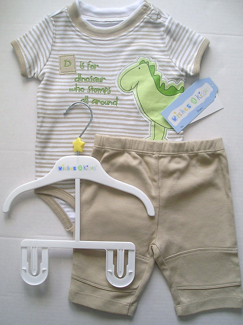 WIshes and Kisses 2 pc set white/tan 0-3 mos