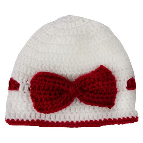 So Dorable knit Holiday hat red/white/bow 0-6 mo
