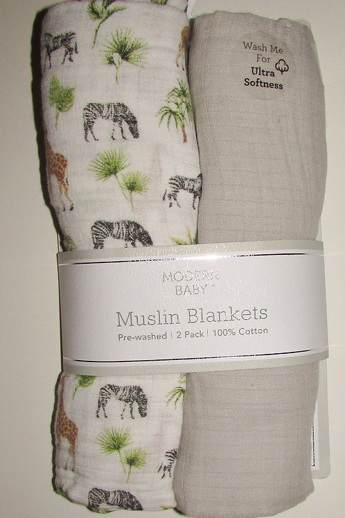 Modern Baby 2 blankets tan/jungle