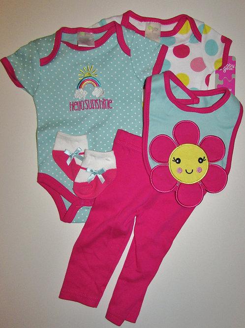 Baby Gear 5 pc set aqua/pink floral 0-3 mo