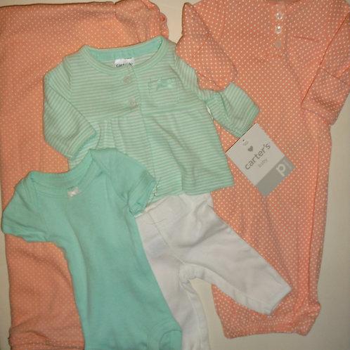 Carters 5 pc set green/orange size P
