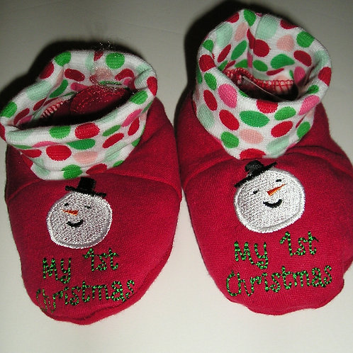 Holiday Time Xmas booties red/snowman 0-3 mo