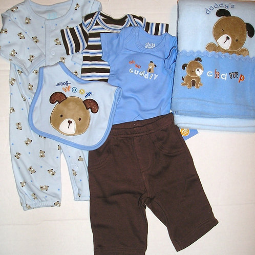 Child of Mine 6 pc set blue/brown/puppy Newborn