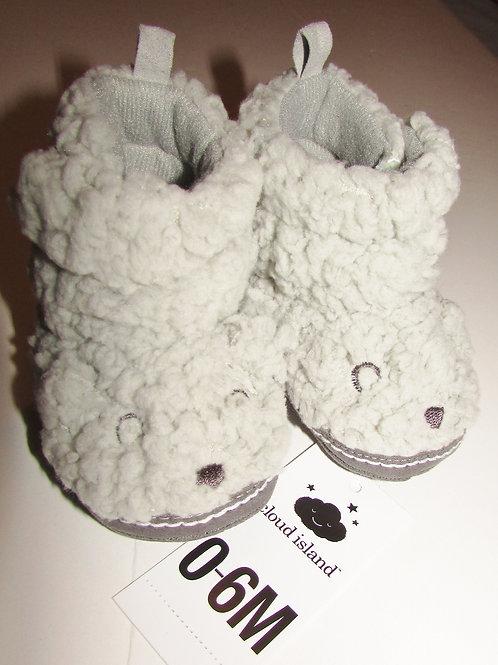 Cloud Island fleece slippers gray/bear motif suede bottom size 0-6 mo