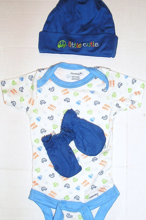Gerber 3 pc set white/blue/car Newborn