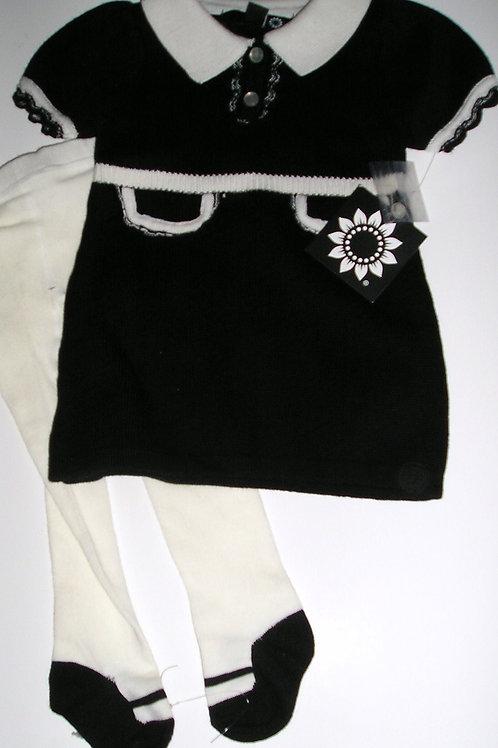 Daisy knit black/white 0-3