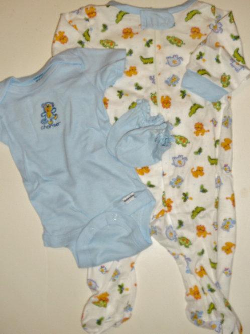 Gerber 3 pc set white/blue/zoo Newborn