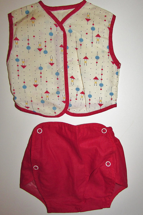 No brand used/vintage 2 pc set white/red 0-6 mo