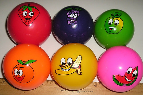 Vinyl balls set of 6 fruit motif