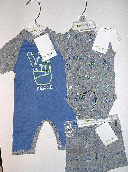 Amy Coe 3 pc set gray/blue/peace Newborn