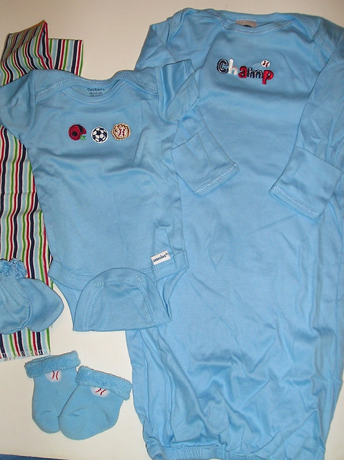 Gerber 5 pc set blue/stripes size Newborn