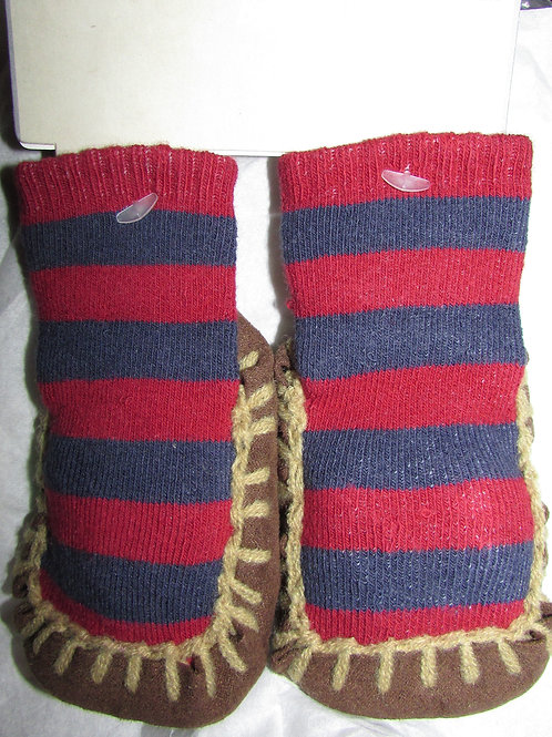 Baby B'Gosh slipper/sock Christmas maroon/blue 0-3