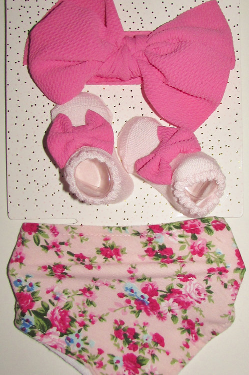 Bow Fancy pink/floral size 0-6 mo