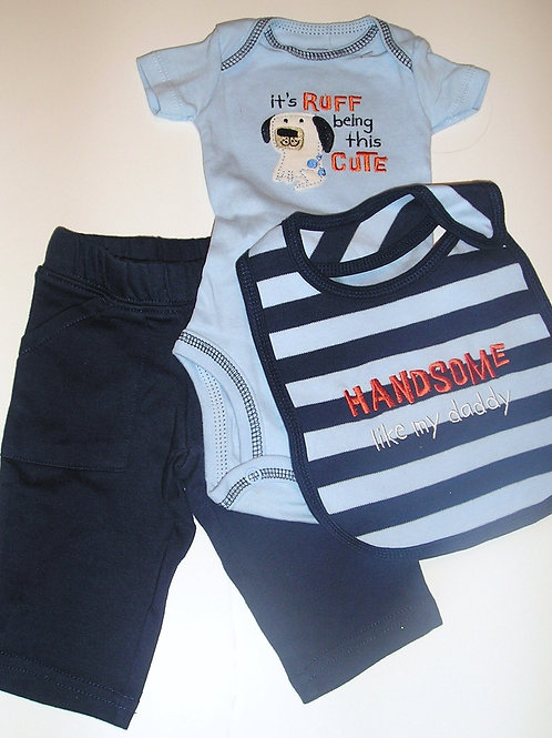 Just One You 3 pc set blue/navy/dog Newborn
