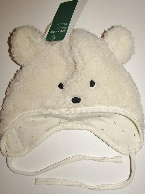 H.M fleece hat cream/bear motif size 0-6 mo