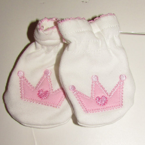 Gerber mitts white/pink size 0-6
