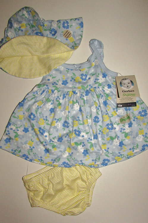 Gerber 3 pc set blue/floral size 0-3 mo