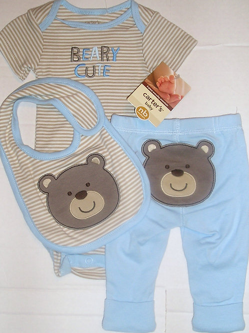 Carters 3 pc set blue/tan bear Newborn