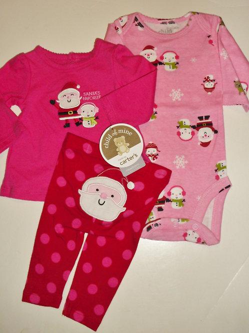 Child of Mine 3 pc set pink/Santa size 0-3 mo