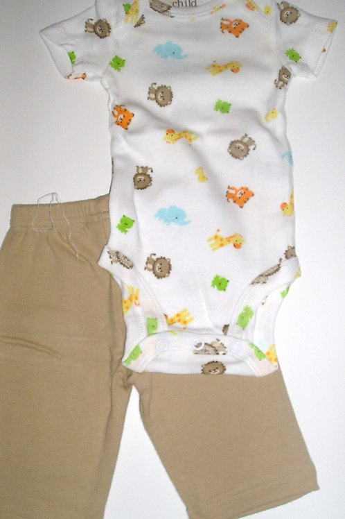 Carters 2 pc set tan/white/jungle Newborn