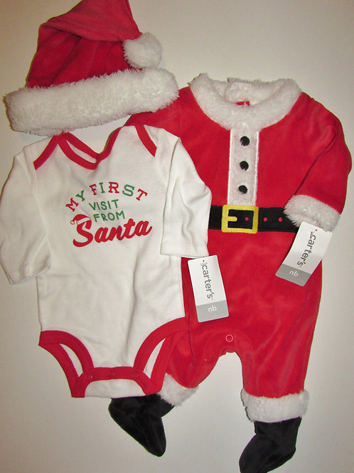 Carters 3 pc Santa set fleece size N