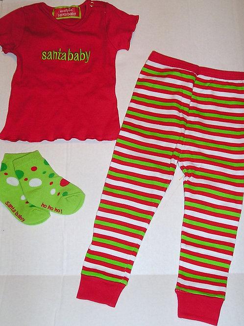 Mud Pie 3 pc set red/stripes/Santa size 3 mo