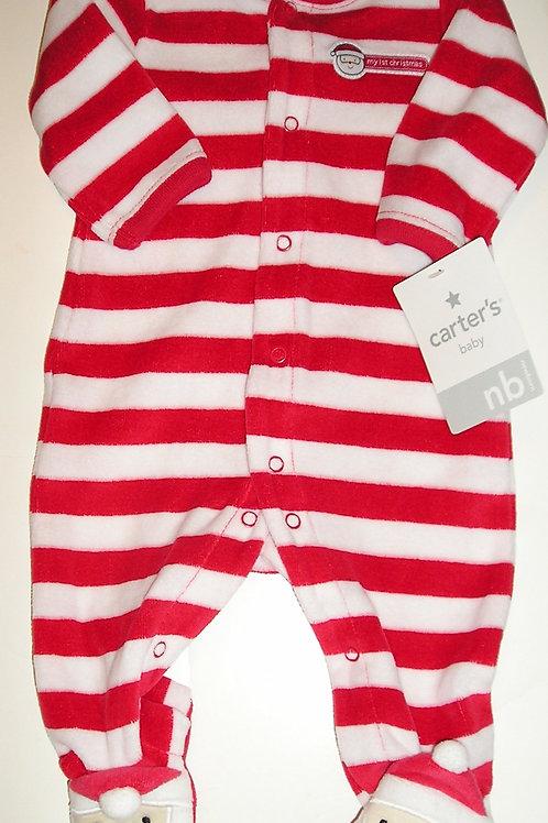 Carters velour sleeper red/white/santa size N