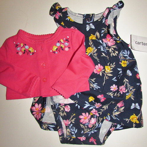 Carters dress set navy/pink size N