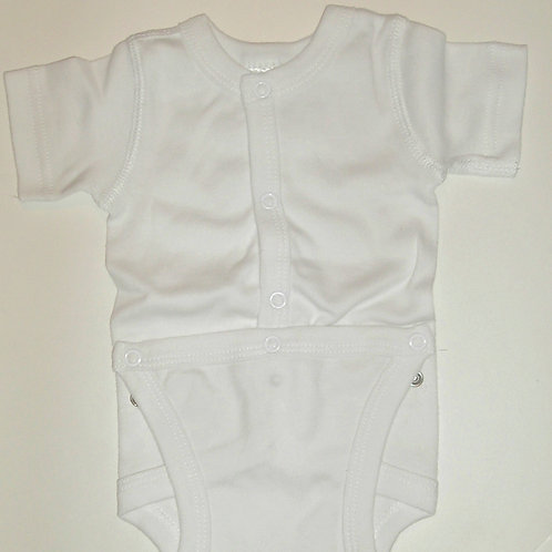 Simply kids snap front creeper white 0-3 mos