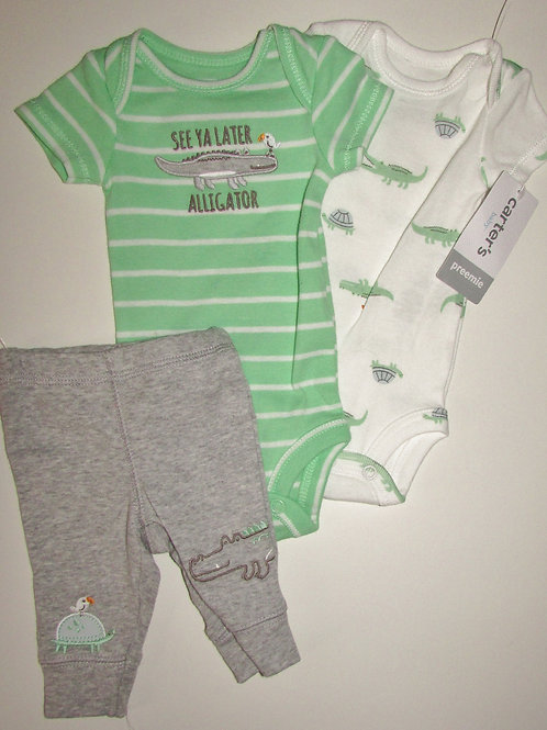 Carters 3 pc set green/white size P