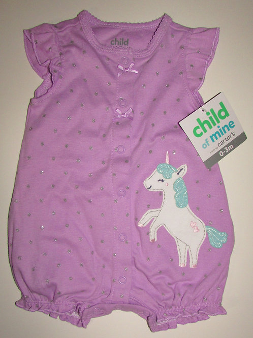 Child of Mine creeper lilac/unicorn size 0-3 mo
