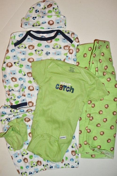 Gerber 5 pc set white/green/sports Newborn