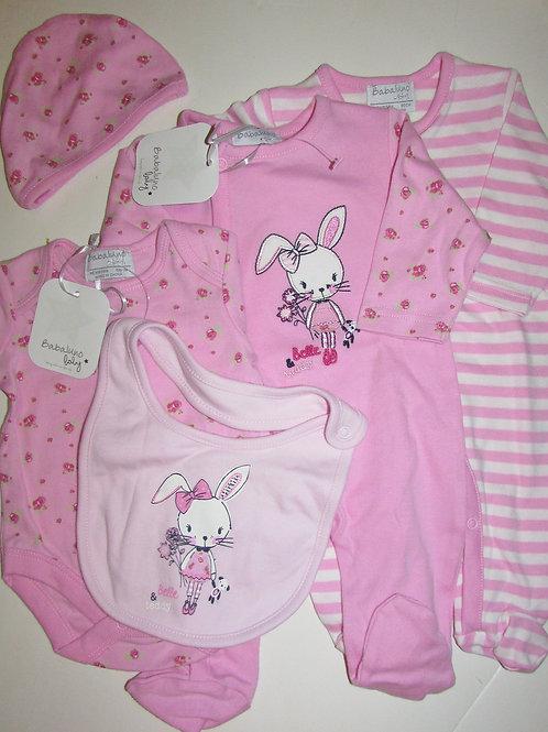 Babaluno Baby 5 pc set pink/bunny LN
