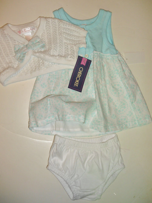 Cherokee dress set white/aqua size N