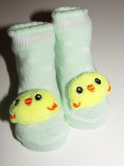Little Me socks green/plush chicky head size 0-3 m
