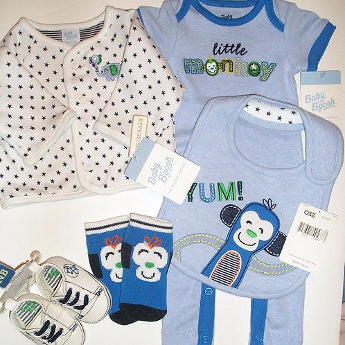 Baby B' Gosh 5 pc set blue/monkey size orn