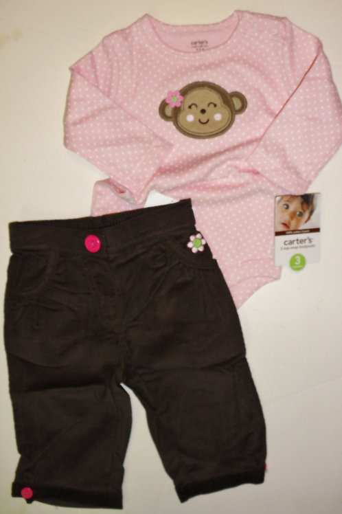 Carters pink/brown size 3 mos